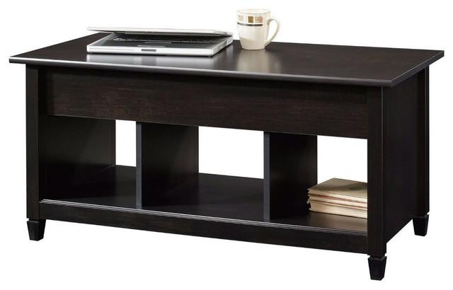 Fastfurnishings black wood finish lift top coffee table for Dark wood lift top coffee table