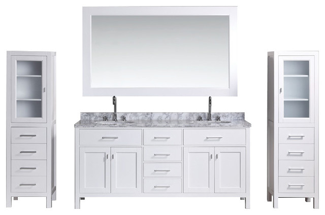 London 72 Double Sink Vanity Set With 2 Matching Linen Cabinet White