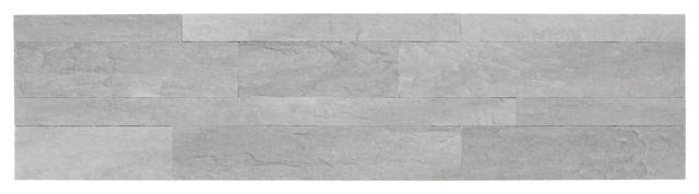 "6""x24"" Bolder Stone Self Adhesive Stone Wall Tiles, Smoke, Set Of 6."