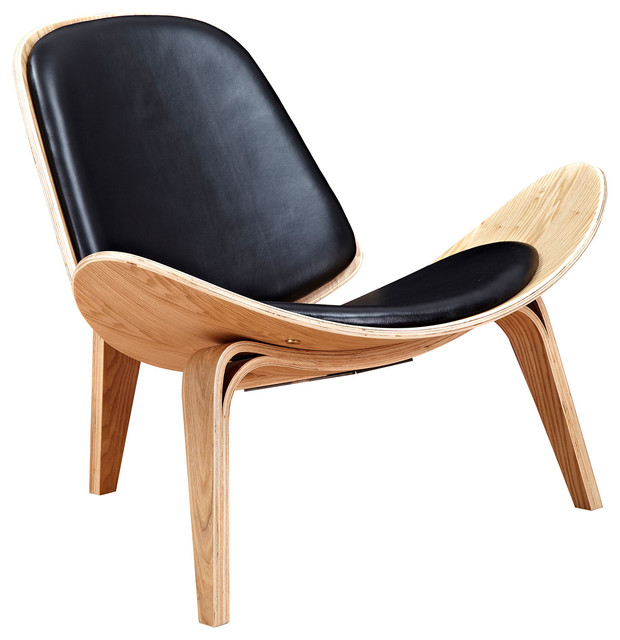 Bon Modern Leather Lounge Chair, Shell Mid Century, Ash Wood Frame, Black