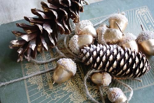 Gold Leaf Acorns and Pine Cones