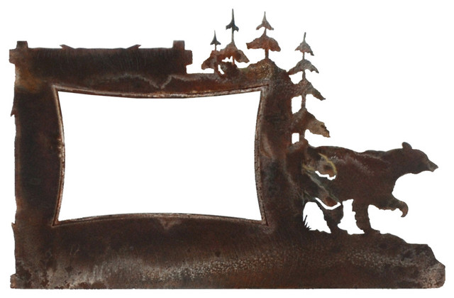 Rustic Iron Picture Frame Bear And Pine Tree 4x6 Metal