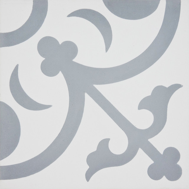 "8""x8"" Nador Handmade Cement Tile, White/Gray, Set of 12 contemporary-wall-and-floor-tile"