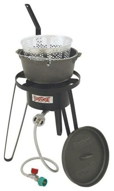 """Bayou Classic Outdoor Fish Cooker, 21"""" Tall Frame With Cast Iron Fry Pot."""