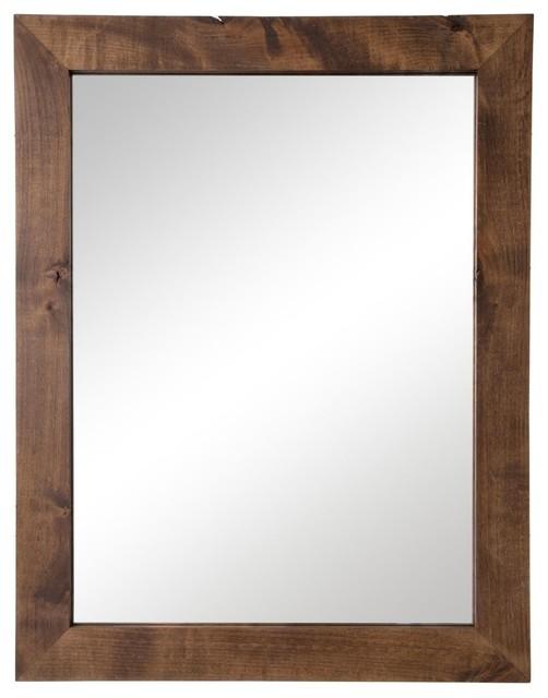 "Farmhouse Bathroom Vanity Mirror, 24""x31"", Walnut"