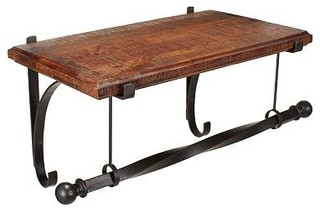 New York Wall Mount Wood Shelf With Metal Clothes Rod 2