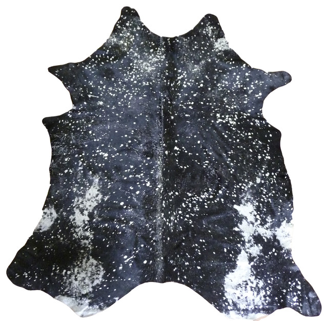 Silver Metallic On Black Extra Large Brazilian Cowhide.