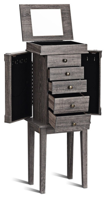 Standing Jewelry Cabinet Storage Organizer With Wooden Legs Rustic Jewelry Armoires By Forest Grass