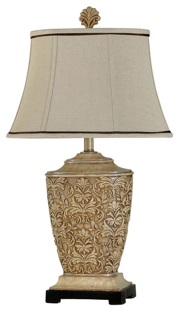 Tortola Table Lamp Cream Finish Natural Linen Softback