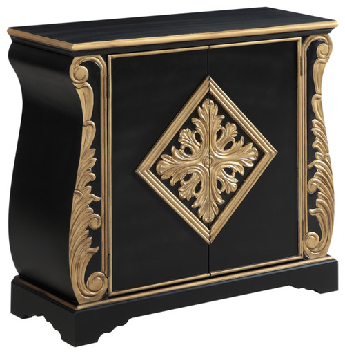 Two Door Accent Cabinet, Black And Gold, 40
