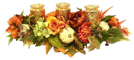 Fall Thanksgiving Candle Centerpiece With Mercury Glass, Orange And Rust.