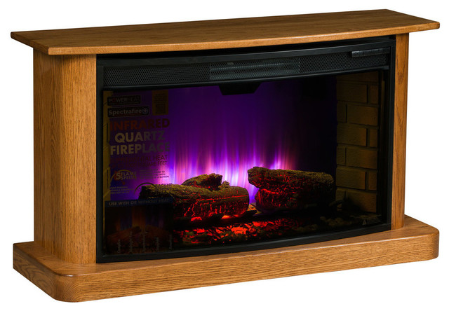 Cozy Glow Electric Fireplace, Maple Wood With Tobacco Stain.