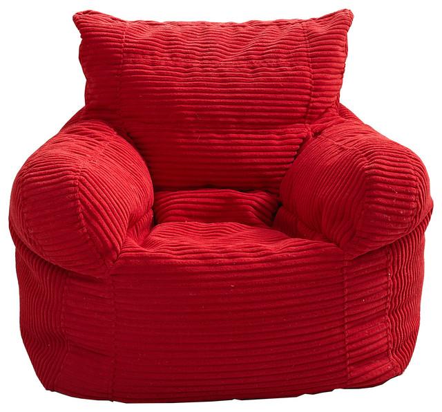 Small Corduroy Arm Chair Bean Bag Red