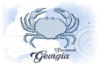 Quot Savannah Georgia Crab Blue Coastal Icon Quot Print