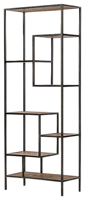 Zane Modern Classic Repurposed Pine Metal Bookcase, 83w.