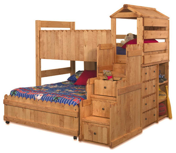 Camp Wildwood Twin Over Full Fort Loft, Cinnamon transitional-loft-beds