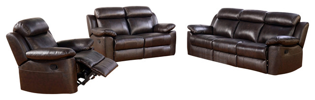 Abbyson Living Braylen 3-Piece Top Grain Leather Sofa Set, Brown