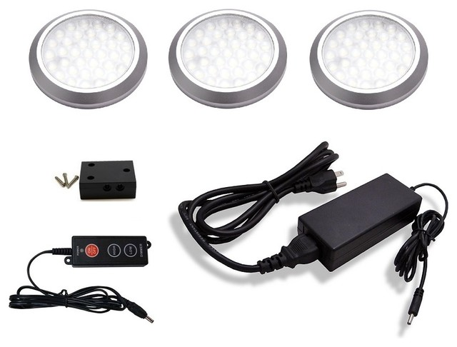 3 piece neutral white LED puck light kit,dimmer and 12W plug in power supply
