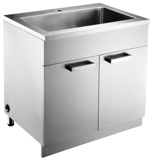 amazing Metal Kitchen Sink Base Cabinet #3: Dawn Stainless Steel Sink Base Cabinet, Built in Garbage Can and Cutting  Board modern-