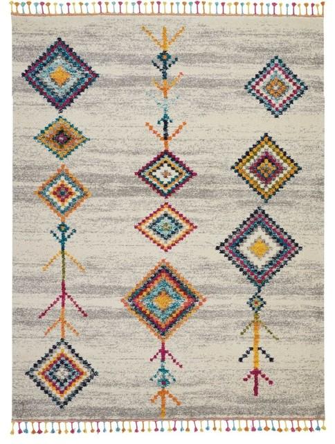 "Nourison Moroccan Casbah Area Rug, Cream Gray, 7&x27;10""x10&x27;6""."