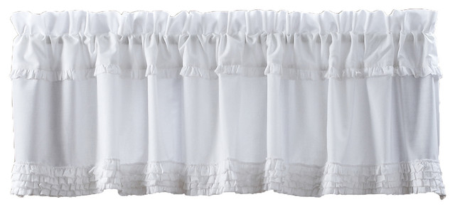 "White Ruffled Sheer Valance Unlined, 16""x72""."