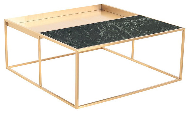Corbett Square Coffee Table Gold Coffee Table Modern Green