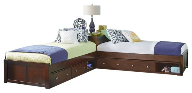 corner bed furniture. Simple Furniture Larkin LShape Extra Long Twin Size Corner Bed Cherry And Bed Furniture