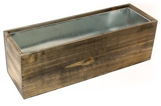 Cys Natural Wood Window Box Planter W Zinc Liner