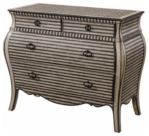 White and Charcoal Painted Striped Chest of Drawers