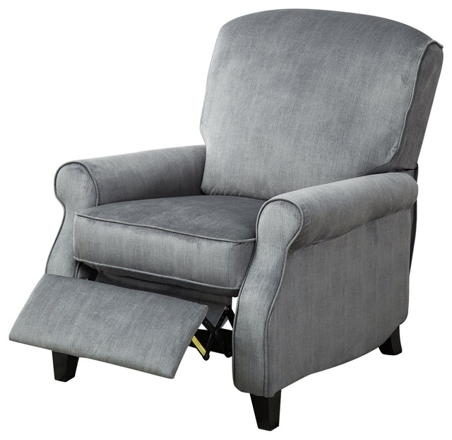 BONZY Roll Arms High Leg Recliners Upholstered Accent Recliner Chair, Gray