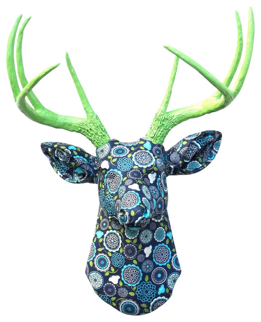 Faux Navy Blue And Lime Green Floral Fabric Deer Wall Decor, Blue/Green