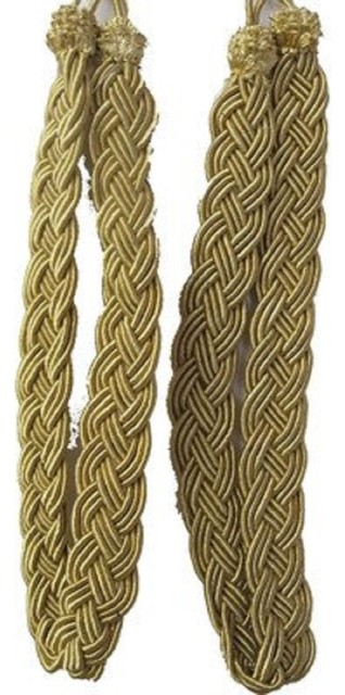 Gold Rope Curtain Tie Backs, Set Of 2.