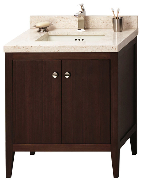 Ronbow sophie solid wood 30 vanity set with ceramic sink transitional bathroom vanities and for Solid wood double sink bathroom vanity