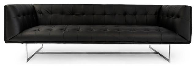 Kardiel Edward Mid-Century Modern Sofa, Black Premium Leather midcentury-sofas