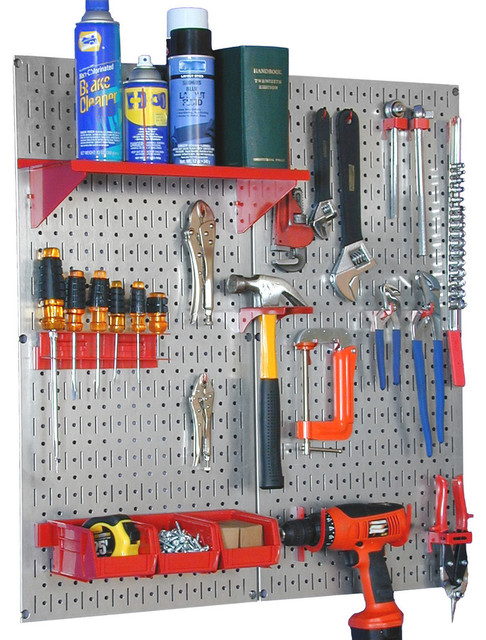 Metal Pegboard Kit, Galvanized Pegboard And Red Accessories  Contemporary Garage And Tool