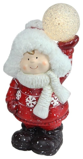 "10"" Christmas Led Terracotta Boy Christmas Figure."