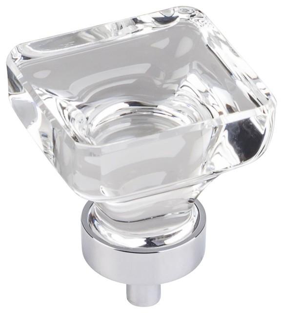 """Jeffrey Alexander Harlow 1-3/8"""" Square Glass Knob, Polished Chrome"""