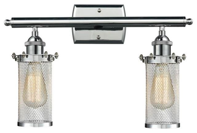 "Avalon Polished Chrome Bathroom Vanity Ceiling Lights: Polished Chrome 2-Light Bleecker 16"" Bath, Vintage Bulbs"