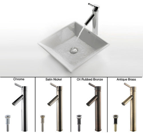 Kraus C-Kcv-125-1002 16-4/5 Ceramic Vessel Bathroom Sink W/ Vessel Faucet.