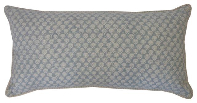 Smokey Blue Throw Pillows : Small Mini Poppy Springs Smokey Blue Pillow - Contemporary - Decorative Pillows - by Jiti