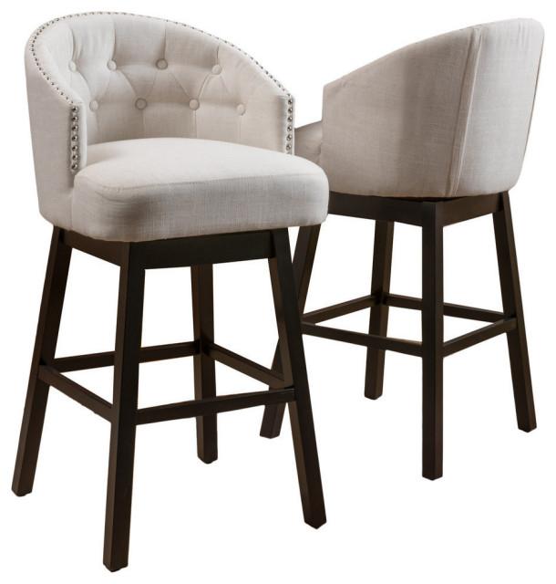 GDF Studio Westman Fabric Upholstered Swivel Seat Bar Stools, Set of 2