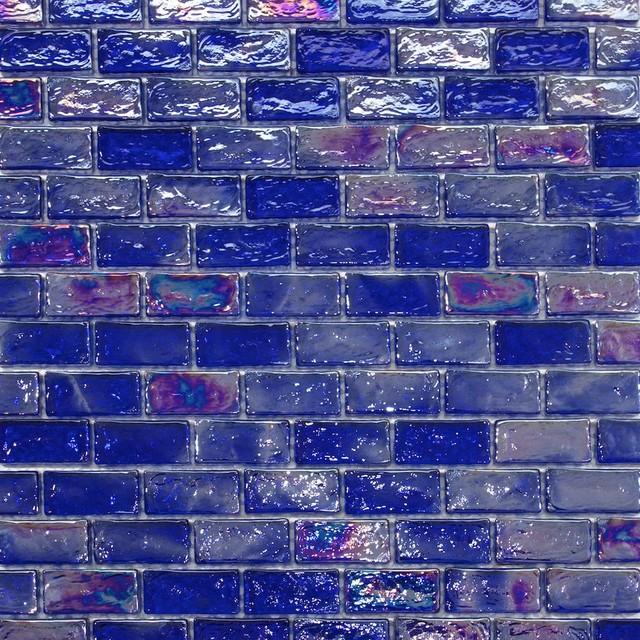 Iridescent Brick Glass Mosaic Tile, Dark Blue
