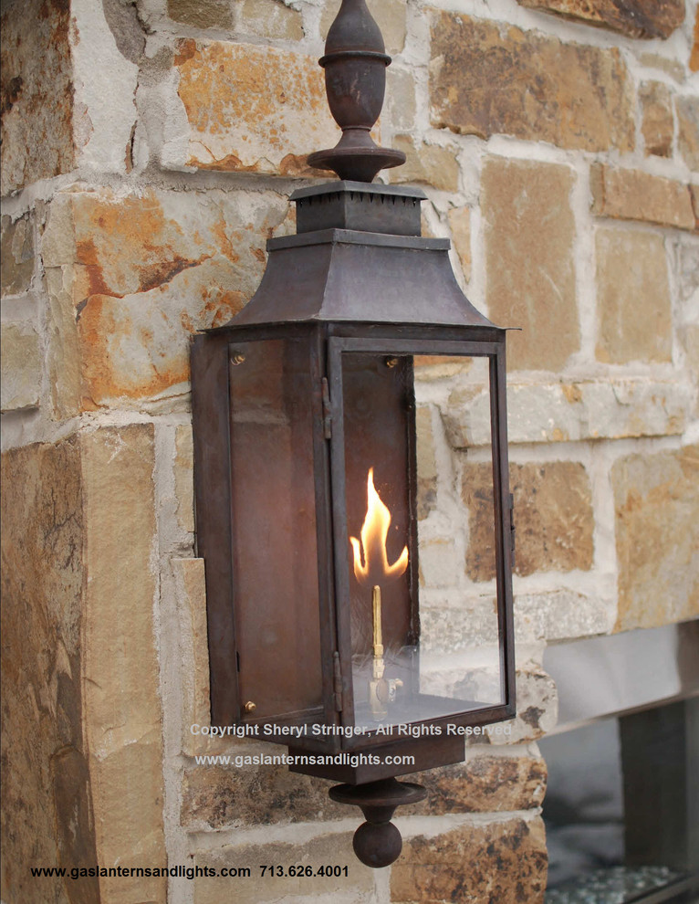 Sheryl's Grande Gas Lantern with Dark Patina Finish