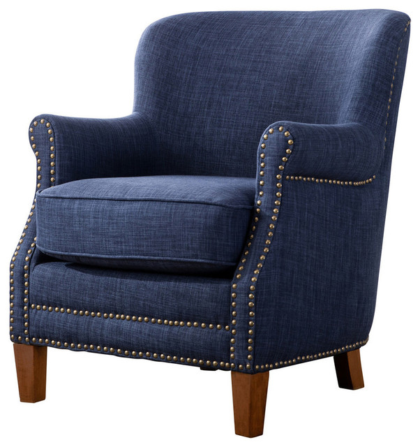 Kelly Fabric Accent Chair, Navy Blue