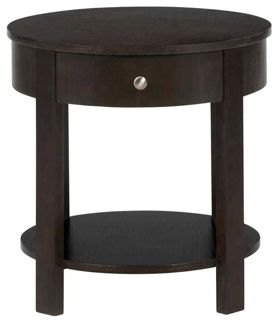 Round End Table In Parker Oak Finish Traditional Side Tables And End