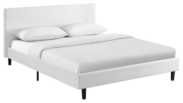 Anya Fabric Bed, White, Full.