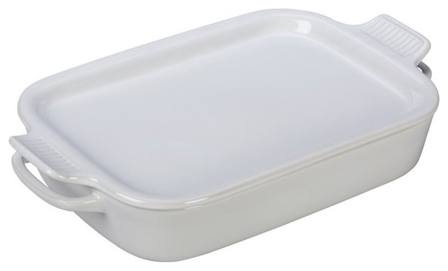 Le Creuset Rectangular Dish With Platter Lid, White.