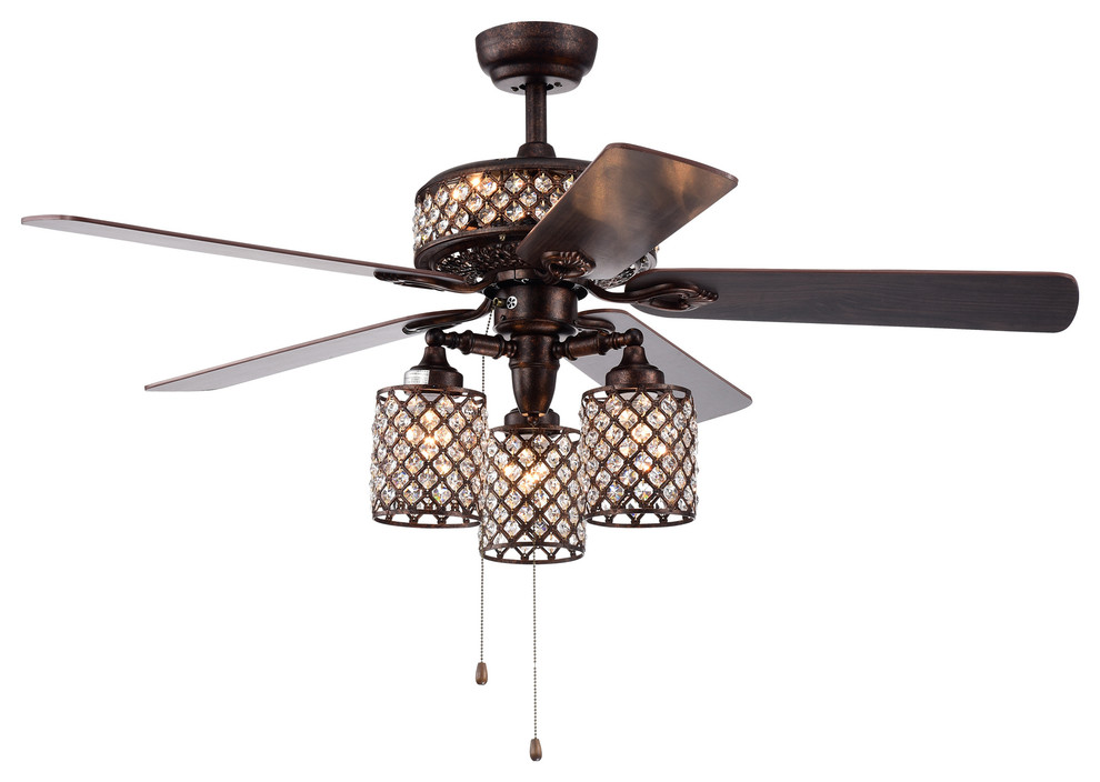 Rustic Bronze Lighted Ceiling Fans