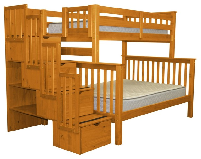 Bedz King Bunk Beds Twin Over Full Stairway With 4 Step Drawers, Honey.