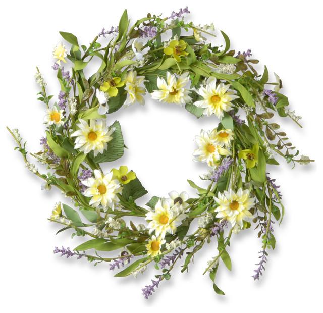 "20"" Garden Accents Yellow Daisy Wreath"